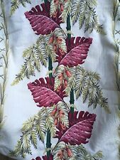 Vintage Barkcloth Fabric Over 5 yards Bamboo Ferns TROPICAL Greens Pinks Nubby