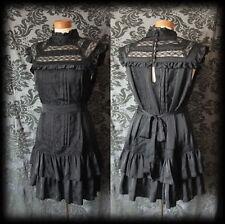 Gothic Black Victorian Neck Bib Detail GOVERNESS Satin Tea Dress 6 8 Vintage