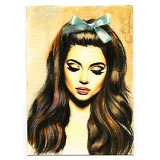 original painting drawing watercolor miniature ACEO art picture woman portrait