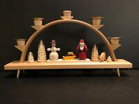 German Wood Christmas Candleabra Arch Authentic Erzgebirgische Santa and Snowman