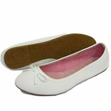WOMENS GIRLS FLAT WHITE SLIP-ON SHOES BALLET BALLERINA CASUAL PLIMSOLL PUMPS 3-8