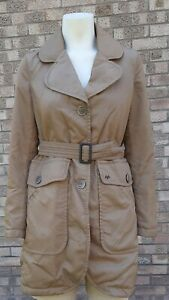 THOMAS BURBERRY Sand Lightly Quilted Coat/Trench .. Size S fits UK 10