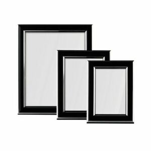 Photo Frames, Set of 3, Black and Silver