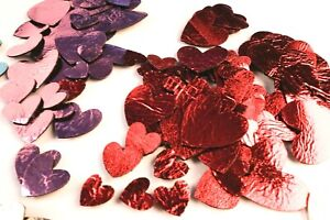 40 Metallic Valentines Red & Rose Pink Leather Hearts Earrings Jewellery Card