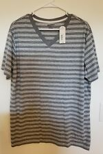 Grey/White Stripe Arizona Jean Co V-neck Men's Cotton Polyester T-Shirt Size XL