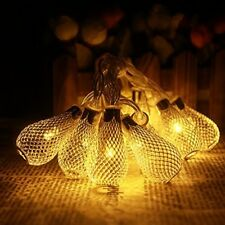 30 LED Xmas Tree Light Golden Mesh Teardrop Warm White Party Curtain Lights