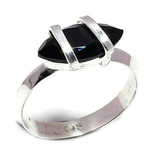 Black Onyx Gemstone 925 Sterling Silver Handmade Jewelry Ring Size 9 6290