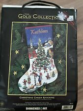 "Dimensions Gold Collection Christmas Cheer Stocking Cross Stitch 16"" 1999 Kit"