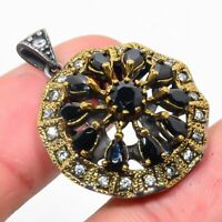 Real Egyptian Black Spinal Pendant 925 Sterling Silver Turkish Two Tone Jewelry