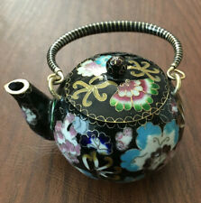 Chinese Vintage Collectible Black Cloisonne Bronze Brass Copper Enamel Teapot