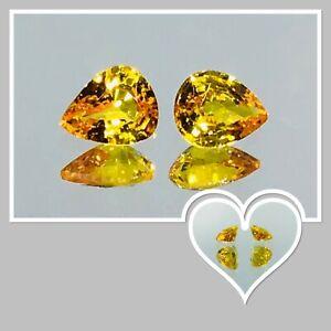 Bi-colour Yellow Orange Natural Ceylon Sapphire Pair X2 1.10 Carat $490 reduced