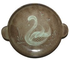 Vintage Dunster Pottery Twin Handled Dish Beautiful Swan Design Rare Collectors