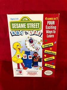Sesame Street ABC & 123 Complete In Box CIB Orginal Nintendo Game