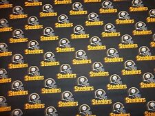 """PITTSBURGH STEELERS 60"""" WIDE 1 REMNANT  PIECE  100% - COTTON  NEW DESIGN BLACK"""