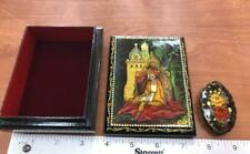 Vintage Soviet USSR Russian lacquer trinket box & Brooch Hand Painted
