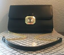 TED BAKER Black Leather Chain Strap Crystal/Pearl Clasp Crossbody NWT Free Ship