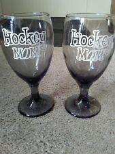 Set of 2 Hockey Mom Wine Glasses Smokey Shaded Glass