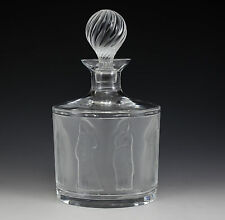 Lalique France Frosted Crystal Decanter in Femmes Antiques, c1930 Robed Women