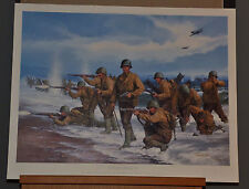"""""""Utah Beach"""" by John Paul Strain Limited Edition Signed WWII Print Listed Artist"""