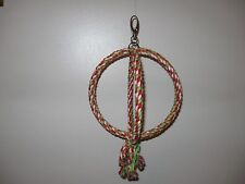"""Double Ring Circle Rope Swing 7"""" rings approx 12"""" high Bird Parrot toy"""