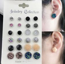Fashion Rhinestone Crystal  Earrings Set Women Ear Stud Jewelry 12 Pairs