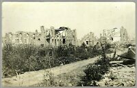DESTROYED CITY FRONT GERMAN IMAGE WW1 RPPC PHOTO POSTCARD WAR WWI
