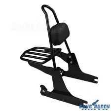 Black Rear Passenger Backrest Pad Sissy Bar Luggage Rack for Harley FXDF FXDFSE