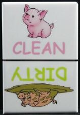 "CLEAN / DIRTY PIG 2"" X 3"" Dishwasher Magnet. Unique Gift Idea!"