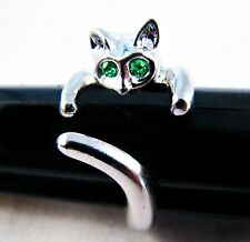 Adorable Cat Ring- GREEN Crystal Eyes -Adjustable- FREE Gift Pouch- U.S. SELLER