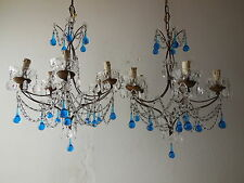~c 1850 ONE French Paris Blue Drops Crystal Prisms Beaded Swags Chandelier~