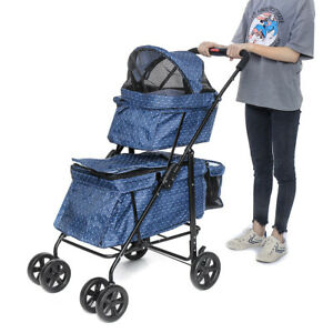 2-in-1 Double Deck Foldable Pet Stroller With Cup Holder Waterproof Detachable