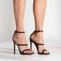 Tony Bianco $137 Atkins Heels Black Leather Straps 6.5 NWB