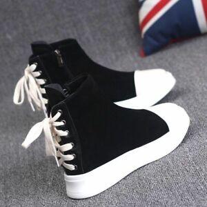 Women's high-top casual shoes suede platform platform shoes lace-up ankle boots