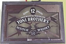 Ancien Miroir de Bar Publicitaire Vintage YONI BROTHER'S SCOTCH WHISKY