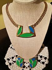 Breathtaking Vintage Monet Enamel & Gold Metal Demi Parure - Necklace/ Earrings