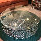 Modern Lucite propeller table with beveled glass top