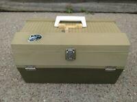 Vintage My Buddy TACKLEMASTER Fishing Tackle Box Green GC 5 tray