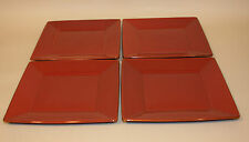 4 Pottery Barn Japan Asian Square Paprika Red 10-1/2 Inch Dinner Plates
