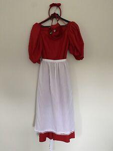 Ladies Red Snow White dress & apron- Sz 8 Ex Hire Fancy Dress, Theatre Costume