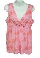Garnet Hill Pink Floral Print Tank Top Womens Sleeveless V Neck Size Medium