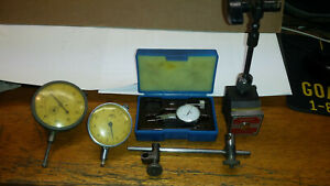 Starrett No.657 Magnetic Base W/xtra Rod, 4 Clamps, And 3 Dial Indicators