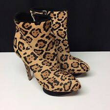 L.A.M.B. by Gwen Stefani Fur Leather Leopard Print Stiletto Boots 9 40 Worn Once