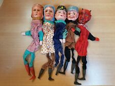 5x Antike Marionette Holzkopf Hand-Puppen