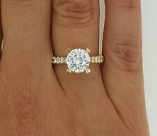 1 Ct Pave 4 Prong Round Cut Diamond Engagement Ring SI2 H Yellow Gold 18k