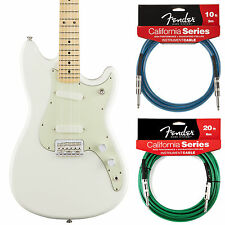 Fender Duo Sonic Offset Series Aged White Guitar - Includes 2 California Cables!