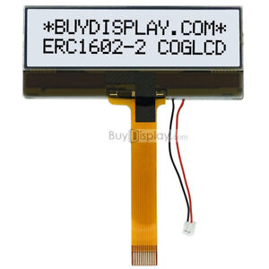 Slim 16x2 COG Character LCD Module w/Tutorial,Black on White,FPC Connection