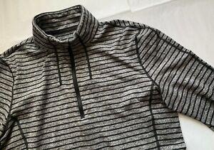 Lululemon Surge Zip-up Workout Top Gray/Black Striped 1/2 Zip - size L
