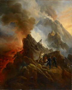 Horace Vernet The Vesuvius Erupting Poster Reproduction Giclee Canvas Print