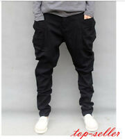 Fashion Casual Mens Harem Trousers Baggy Pants Drop Crotch Rock black Jeans Size