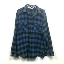 Woolrich Vintage Wool Blend Plaid Blue Buffalo Flannel Usa Made Mens Size Xl